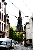 Basel, Switzerland Cathedral w Street Car Wires